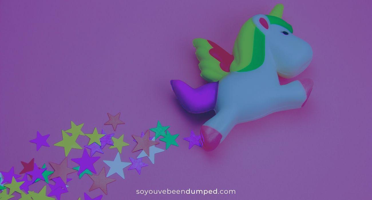 Exes riding away on Magic Unicorns